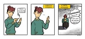 Herkko laittaa viestiä kavereilleen, mutta he eivät vastaa. Hän odottaa ahdistuneena iltaan asti kännykkä kourassaan.